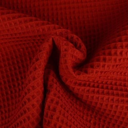 Tissu éponge nid d'abeilles coton rouge