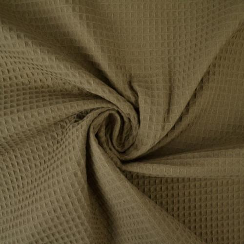 Tissu éponge nid d'abeilles coton taupe (1.15€/10cm)