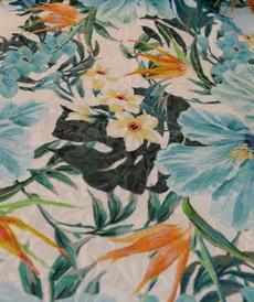 Jacquard imprimé turquoise Norah  Hilco