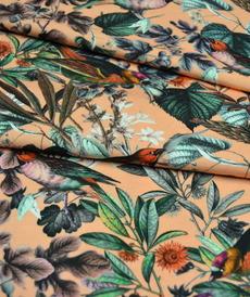Jersey de coton saumon imprimé oiseaux
