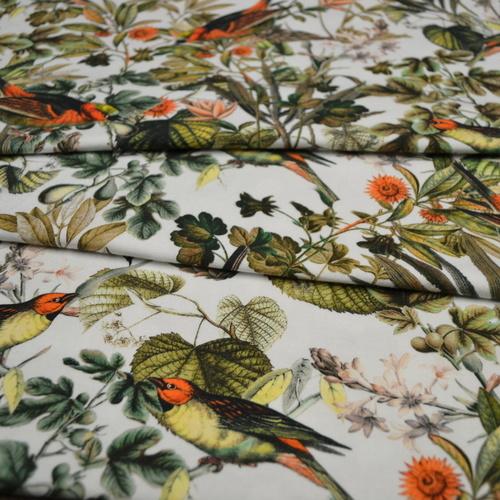 Jersey de coton blanc imprimé oiseaux