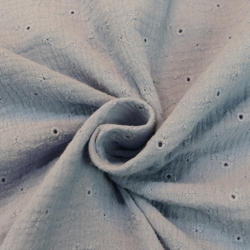 Double gaze brodée bleu lavande