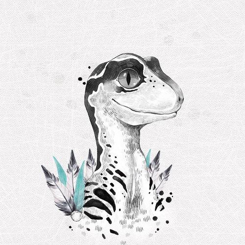 Panneau en jersey sweat bouclette dinosaure