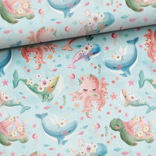 Très beau coton imprimé les animaux marins (1.35€/10cm)
