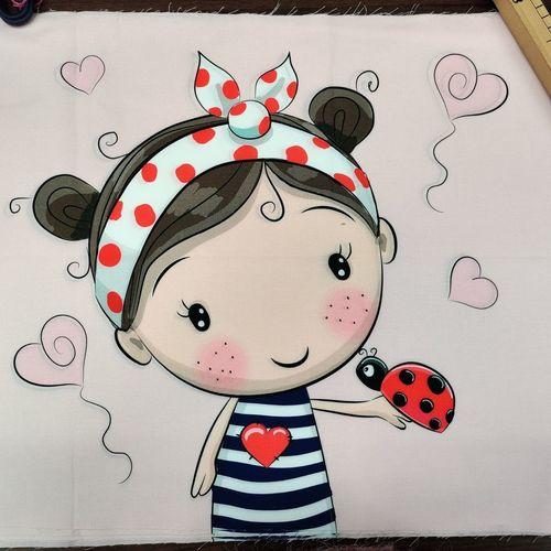 Panneau coton La petite fille aux coccinelles