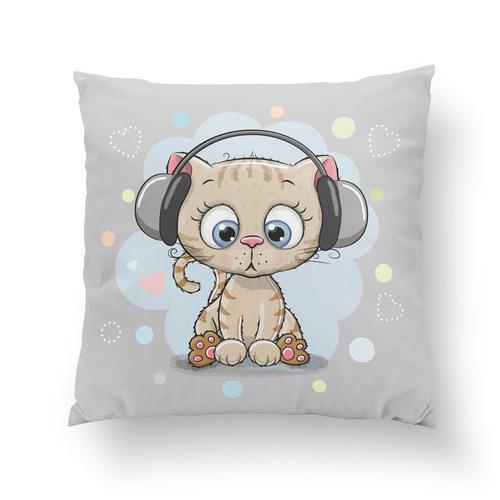 Panneau coton chat aux écouteurs
