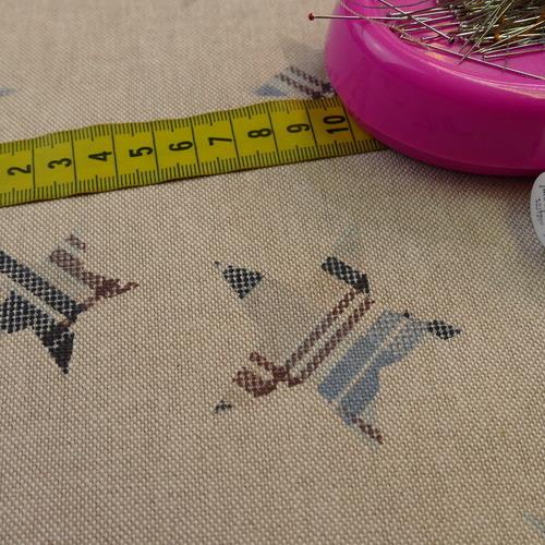 Coton panama look lin étoiles marrons