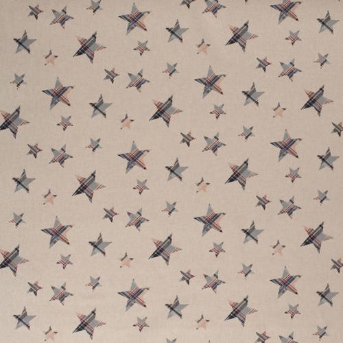 Coton panama look lin étoiles bordeaux