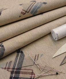 Coton panama look lin étoiles bordeaux (1.05€/10cm)