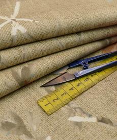 Coton panama kaki marron fond fleuri (10cm/1.65€)