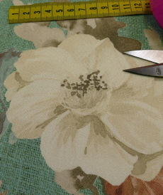 Coton panama grandes fleurs fond vert