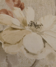 Coton panama grandes fleurs fond beige (1.65€/10cm)