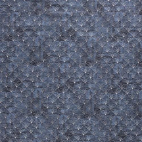 Coton panama indigo noir géométrie