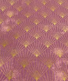 Coton panama prune aubergine géométrie