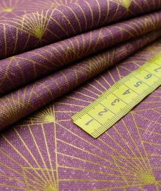 Coton panama prune aubergine géométrie (1.65€/10cm)