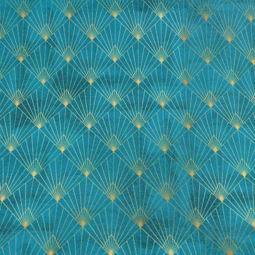 Coton panama turquoise géométrie (1.65€/10cm)