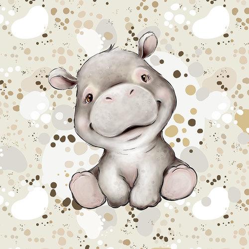 Panneau jersey sweat bouclettes Hippo