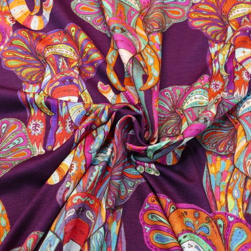 Jersey de viscose imprimé Elephant d'Hilco (2.9€/10cm)