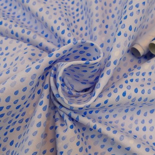 Jersey de coton gouttes bleues d'Hilco
