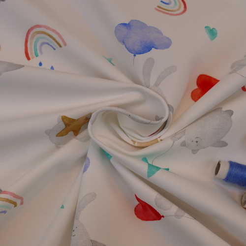 Jersey de coton imprimé Lapin Arc en ciel d'Hilco