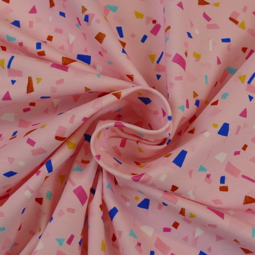 Jersey de coton Summer confetti rose d'Hilco (2€/10cm)