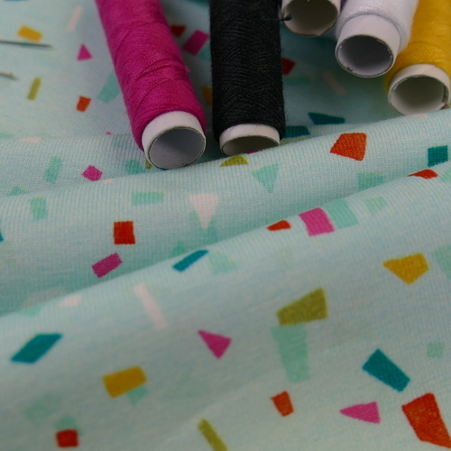 Jersey de coton Summer confetti menthe d'Hilco