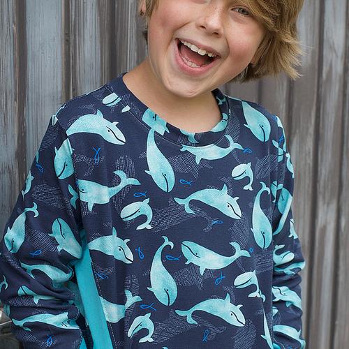 Jersey de coton imprimé baleines de la marque Hilco