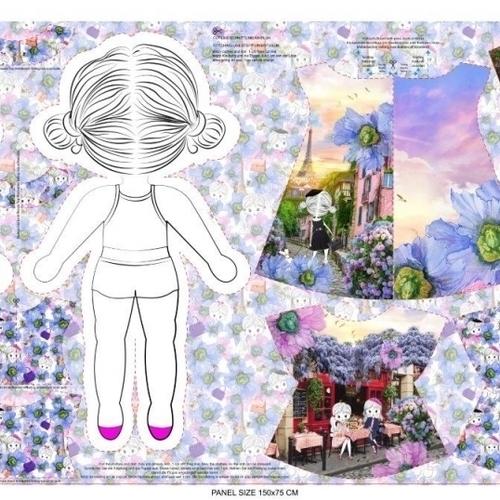 Panneau coton imprimé pour réaliser une jolie poupée