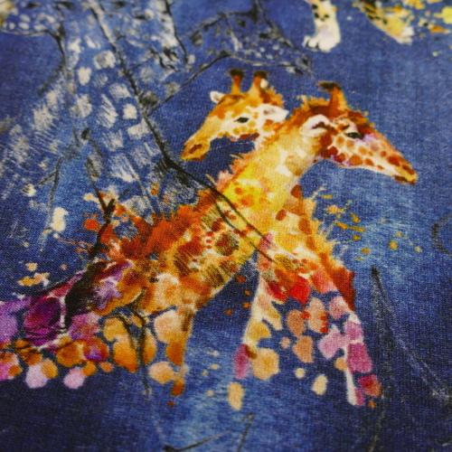 Jersey de coton Safari sur fond bleu jeans Stenzo (8€/50cm)