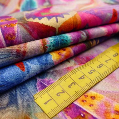 Jersey de coton imprimé Plumes style Inca Stenzo (10cm/1.6€)