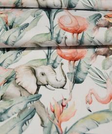 Jersey de coton Eléphants/Flamands roses Stenzo (1.6€/10cm)
