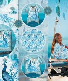 Jersey de coton imprimé Paons Bleu turquoise Stenzo