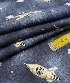 Tissu coton imprimé le raton laveur aviateur Stenzo (0.99€/10cm)