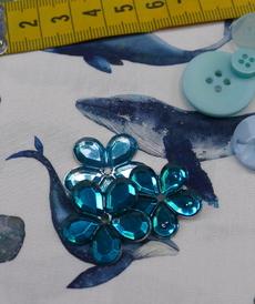 Tissu coton imprimé baleines Stenzo (0.99€/10cm)