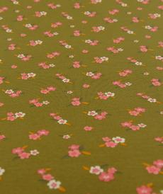 Jersey de coton GOTS vert à petites fleurs romantiques