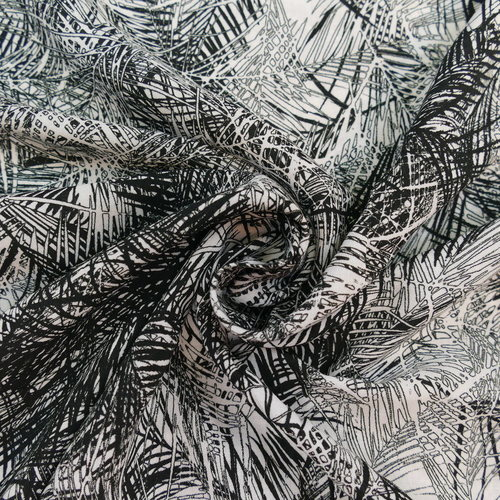Tissu viscose feuillage noir et blanc d'Hilco (2.3€/10cm)