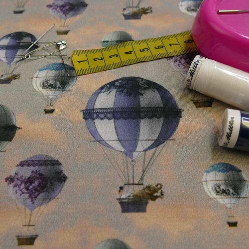 Jersey de coton imprimé Montgolfières de Stenzo (1.6€/10cm)