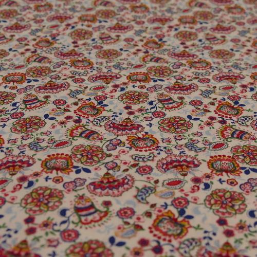 Tissu coton imprimé Fleurs d'Asie d'Hilco