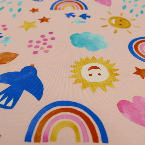 Jersey de coton imprimé estival rose d'Hilco