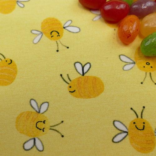 Jersey de coton jaune abeilles marque Hilco