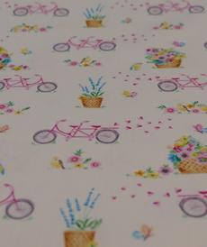 Tissu coton organic imprimé Tandem d'Hilco (2.2€/10cm)