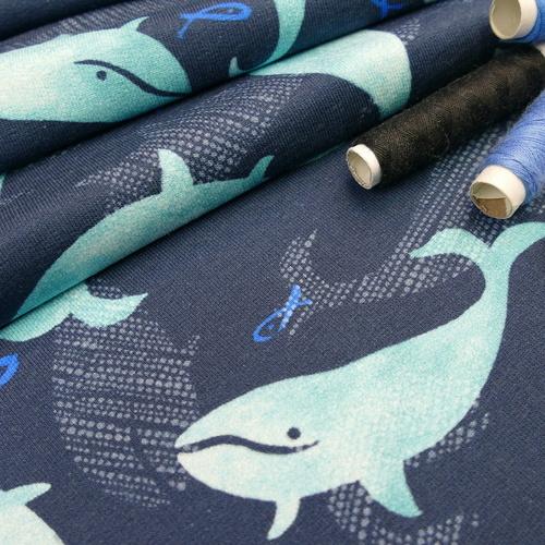 Jersey sweat bouclette imprimé baleines d'Hilco