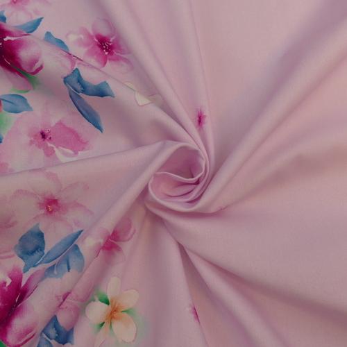 Tissu coton satiné rose à double bordure imprimée Hilco