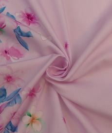 Tissu coton satiné rose à double bordure imprimée Hilco (2.2€/10cm)