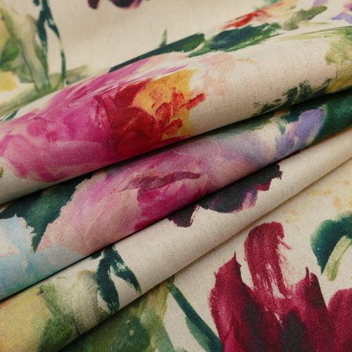 Tissu imprimé lin viscose fleuri d'Hilco
