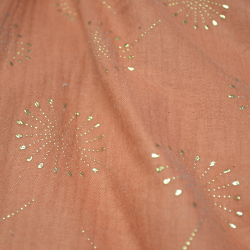 Double gaze de coton motifs dandelions brillants (1.2€/10cm)