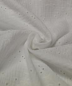 Double gaze de coton brodée Blanc