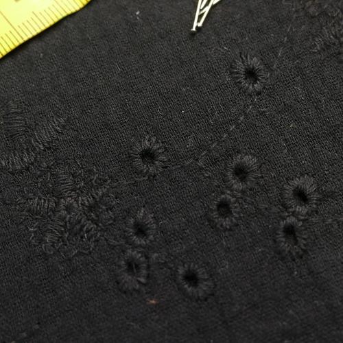 Double gaze de coton brodée Noir