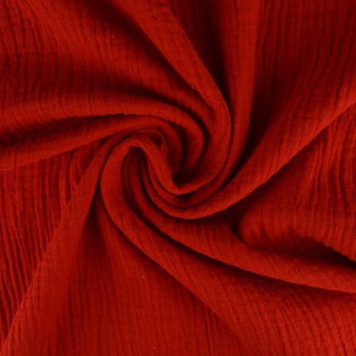 Double gaze de coton uni rouge (0.85€/10cm)