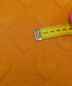 Maille jacquard Quilted Hearts moutarde orangée (1.4€/10cm)